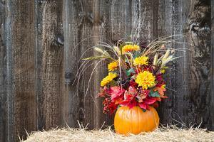 Pumpkin Flower Arrangement on Hay by krisrobin