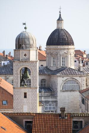 A Bell Tower and Dome of Dubrovnik Cathedral in Croatia
