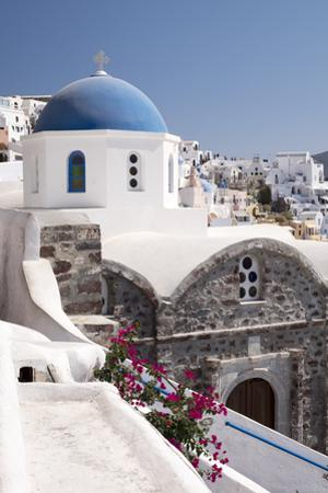 A Classic Blue Dome of a Greek Orthodox Church in the Picturesque Town of Oia, Santorini