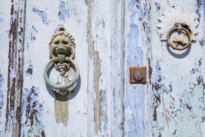 Close Up of Old Door with Door Knocker