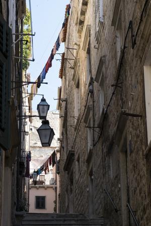 Clothesline Hanging Between Buildings in Croatia