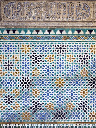Detail of Tiles and Plaster Carving at Alcazar Royal Palaces, Seville