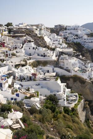 High Angle View of Whitewashed Buildings in Santorini, Greece