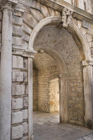 Interior Archway of the Land Gate in the Old Town of Korcula, Croatia