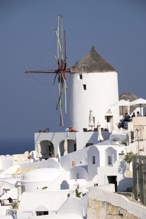 Old Fashioned Windmills in the Picturesque Town of Oia, Santorini