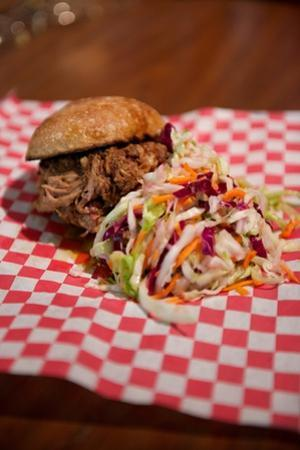 Pulled Pork Slider Sandwich with Coleslaw in the Mission District of San Francisco, California