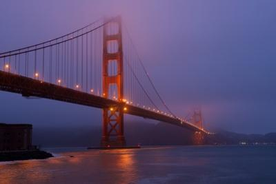 San Francisco's Iconic Golden Gate Bridge before Dawn Near Fort Point