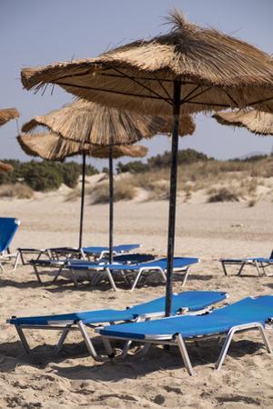 Sunbathing Chairs and Palapa Beach Umbrellas on the Beach