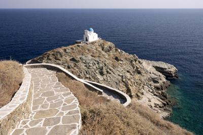 The Blue-Domed Church of the Seven Martyrs Is Located on a Promontory in the Aegean Sea