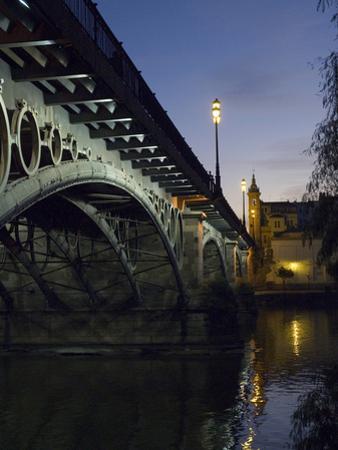 The Bridge of Triana, Puente De Triana, Illuminated at Night