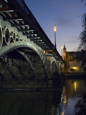 The Bridge of Triana, Puente De Triana, Illuminated at Night by Krista Rossow