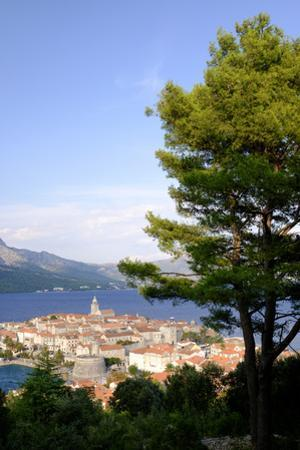 The Old Town in Korcula and the Adriatic Sea in Croatia