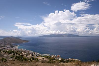View from the Lekursi Castle in Sarande over the Ionian Sea and the Greek Island of Corfu