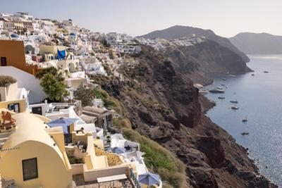 View of the Pastel Buildings and Steep Cliffs of the Picturesque Town of Oia on Santorini