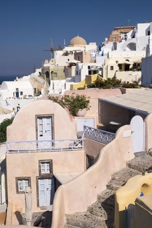 View of the Pastel Buildings and Steep Cliffs of the Picturesque Town of Oia, Santorini