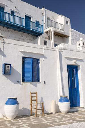 Whitewashed Buildings with Blue Doors are Typical in the Medieval Village of Kastro