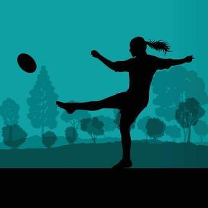 Woman Rugby Silhouette in Countryside Nature Illustration Vector by Kristaps Eberlins