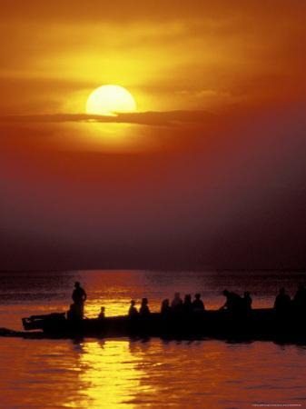 Boat at Sunset on Lake Tanganyika, Tanzania