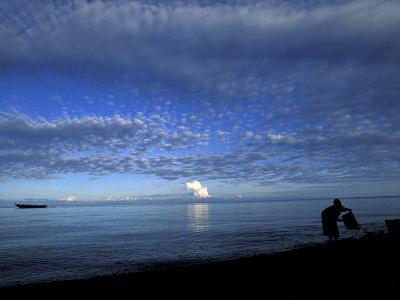 Silhouetted Woman on Lake Tanganyika, Tanzania