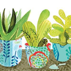 Floral Cacti Pots 1 by kristine lombardi