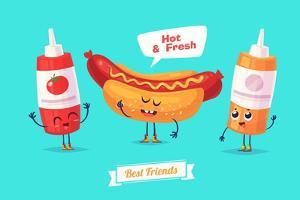 Set of Breakfast Characters. Vector Cute Cartoons by Krolone