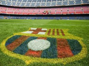 Coat of Arms of Futbol Club Barcelona at Camp Nou Stadium by Krzysztof Dydynski