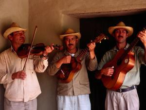 Folk Musicians at Los Aleros Theme Park, Merida, Venezuela by Krzysztof Dydynski