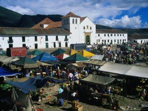 Market Held on Plaza Mayor with Parish Church in Background, Villa De Leyva, Boyaca, Colombia by Krzysztof Dydynski