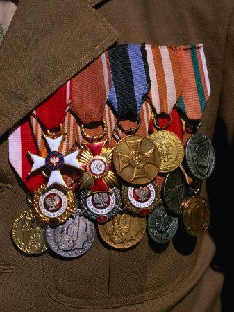 Medals on Breast of War Veteran, Warsaw, Poland