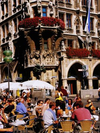 Open-Air Cafe on Marienplatz Beside Neues Rathaus (New Town Hall), Munich, Germany