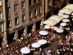 Overhead of Outdoor Cafes on Marienplatz, Munich, Germany by Krzysztof Dydynski
