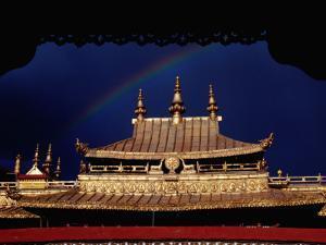 Roof of Jokhang Temple Framed by Lacework, Tibetan Old Quarter by Krzysztof Dydynski