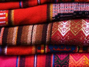 Typical Bolivian Weavings at Street Craft Stall, Calle Linares by Krzysztof Dydynski