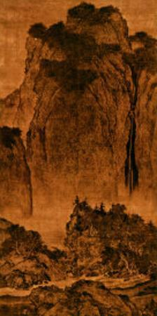 Travelling Among Streams and Mountains, Hanging Scroll, Ink on Silk, c. 1000, China by Ku'an Fan