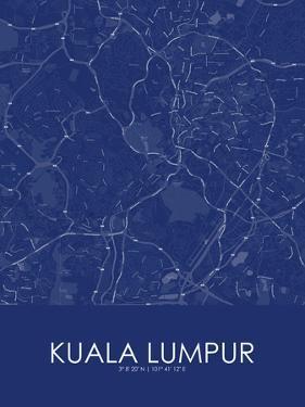 Kuala Lumpur, Malaysia Blue Map