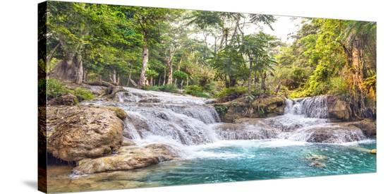 Kuang Si Falls, Luang Prabang, Laos-Pangea Images-Stretched Canvas Print
