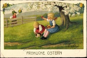 Künstler Ebner P., Glückwunsch Ostern, Kinder, Eier