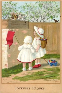 Künstler Ebner P., Glückwunsch Ostern, Mädchen, Hasen