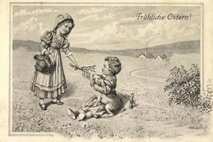 Künstler Glückwunsch Ostern, Kinder, Osterhase, Ort