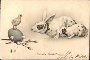 Künstler Glückwunsch Ostern, Osterhasen, Ei, Küken
