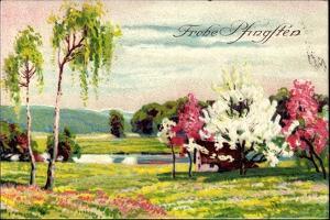Künstler Glückwunsch Pfingsten, Blumenwiese, Bäume