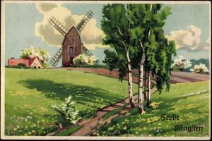 Künstler Glückwunsch Pfingsten, Dorf Mit Windmühle