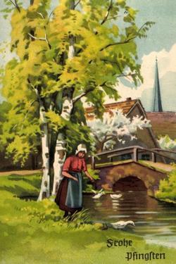 Künstler Glückwunsch Pfingsten, Frau Am Fluss, Kirche
