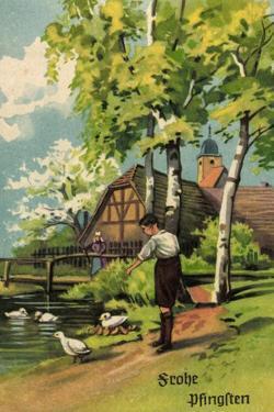 Künstler Glückwunsch Pfingsten, Junge Am Teich, Haus