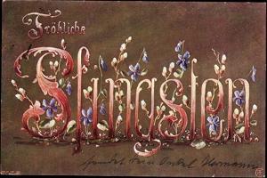 Künstler Glückwunsch Pfingsten, Veilchenblüten