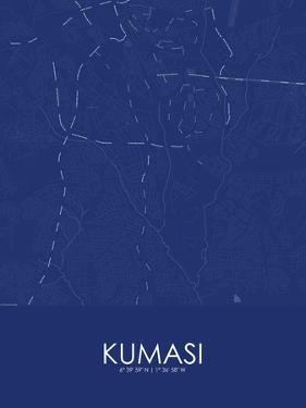 Kumasi, Ghana Blue Map
