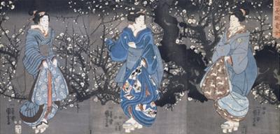An Oban Triptych Depicting a Nocturnal Scene with Three Bijin by Kuniyoshi Utagawa