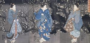 An Oban Triptych Depicting a Nocturnal Scene with Three Bijin by Kuniyoshi Utagawa