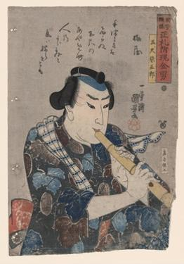 Goshaku Somegoro Playing Shakuhachi by Kuniyoshi Utagawa