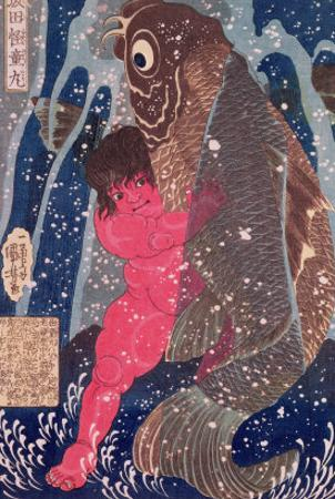 Kintoki Swims up the Waterfall by Kuniyoshi Utagawa